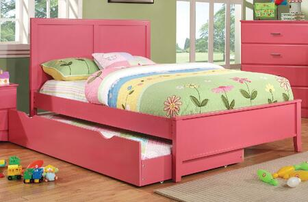 Prismo Collection CM7941PK-T-BED+TR Twin Size Platform Bed with Trundle  Low Profile Footboard  Tapered Legs and Wood Construction in