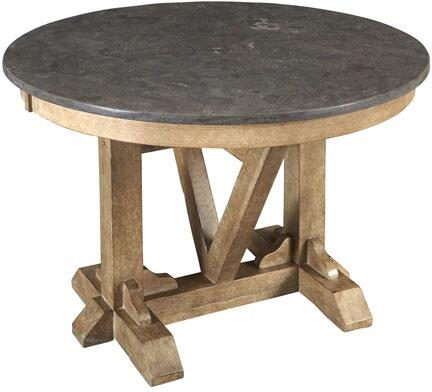 West Valley WVARW6150 44 inch  Round Dining Table with Bluestone Top  Solid Poplar Construction and Light Distressing in Rustic Wheat