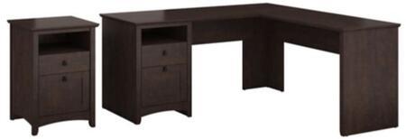 Buena Vista MY13830-03-52 2-Piece Desk Set with L-Shape Desk and 2 Drawer Pedestal in Madison Cherry