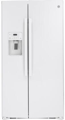 GSS25IGNWW 36 Side by Side Refrigerator with 25.14 cu. ft. Total Capacity  Showcase LED Lighting and Hidden Hinge in