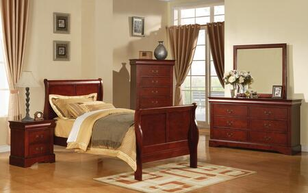 19530TDMCN Louis Philippe III Twin Size Sleigh Bed + Dresser + Mirror + Chest + Nightstand in Cherry