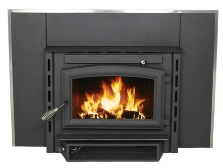 """2200I 18"""" Log Length Firebrick Lined Hearth Sorround Wood Burning Fireplace Insert with Air Washed Ceramic Glass in Black"""