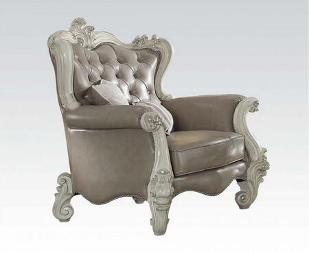 52127 Versailles Living Room Chair with 2 Pillows  Loose Reversible Seat Cushion  Button Tufted Back and Vintage Grey PU Leather Upholstery in Bone