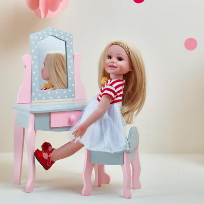 TD0207AG 18 inch Doll Furniture - Vanity Table and Chair Set