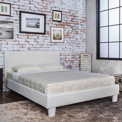 Winn Park Collection CM7008WH-F-BED Full Size Platform Bed with English Style Headboard  European Style Slat Kit  Solid Wood Construction and Leatherette