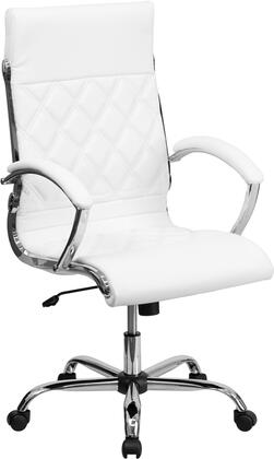 GO-1297H-HIGH-WHITE-GG High Back Designer White Leather Executive Office Chair with Chrome