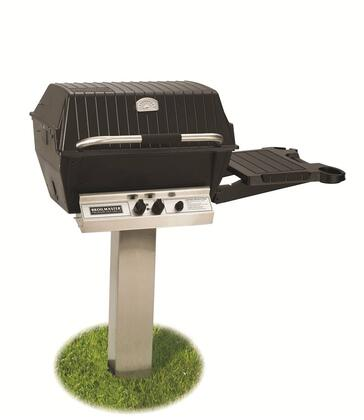 P3PK6N Grill Cart Package  with P3 Natural Gas Grill Head  45 000 BTU Capacity  Bowtie Burner  In-Ground Post  and Side Shelf  in Stainless