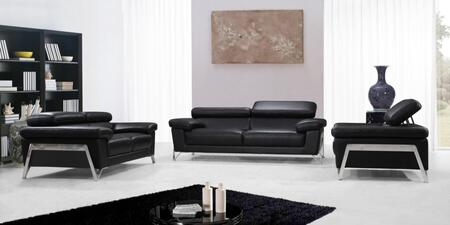 Divani Casa Encore Collection VG2T0724 3-Piece Sofa Set with Adjustable Headrests  Padded Arms  Chrome Legs and Genuine Leather Upholstery in