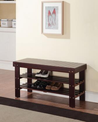 Ramzi Collection 98165 35 inch  Bench with 2 Shelves Shoe Rack  Wooden Seat  Pine and Plywood Construction in Espresso