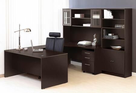 1C100010LES Espresso Executive U Shaped Desk with Hutch and