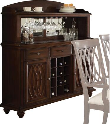 Farrel Collection 60749 56 inch  Server with 3 Drawers  2 Doors  3 Shelves  Wine Rack  Stemware Rack  Back Mirror  Solid Wood and Birch Wood Veneer Materials in