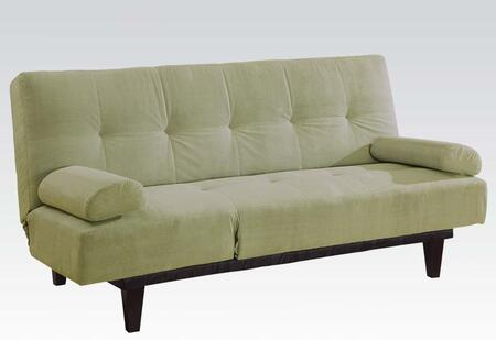 Cybil 05855WSA 77 inch  Adjustable Sofa with 2 Pillows  6 inch  Tapered Wood Legs  Tufted Detailing  Sleep Function and Microfiber Upholstery in Apple Green