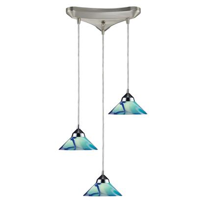 1477/3CAR 3 Light Pendant in Polished Chrome and Carribean