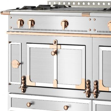Le Chateau Trim  Custom Trim: Brushed Stainless Steel Trim and Rails  Polished Copper Accent