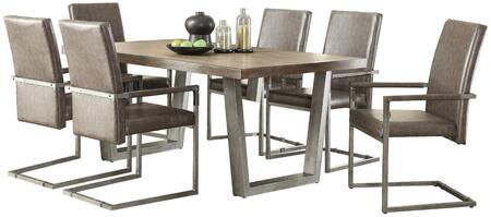Lazarus Collection 731107SET 7 PC Dining Room Set with Dining Table + 6 Arm Chairs in Weathered Oak and Antique Silver