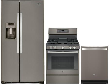 3 Piece Kitchen Package with GSE25HMHES 36 Side by Side Refrigerator  JGB700EEJES 30 Freestanding Gas Range and GDT655SMJES 24 Built-in Dishwasher