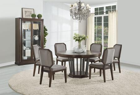 Selma Collection 640858SET 8 PC Dining Room Set with Round Shaped Dining Table  Curio Cabinet and 6 Grey Fabric Upholstered Side Chairs in Tobacco