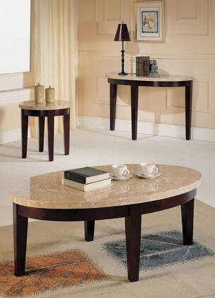 17142CEST Britney Coffee Table + End Table + Sofa Table with White Marble Top in Walnut