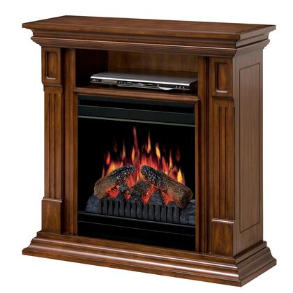 DFP20-1268BW Deerhurst Fireplace Media Console  with Realistic Log Flame Technology  Optional Heat Emission  Cool Glass Front  and Remote Control  in Burnished