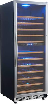 USF128D 24 inch  Dual Zone Wine Cooler with 128 Bottle Capacity  12 Wooden Shelves  Fan Forced Cooling System  Adjustable Legs  in Stainless Steel Glass