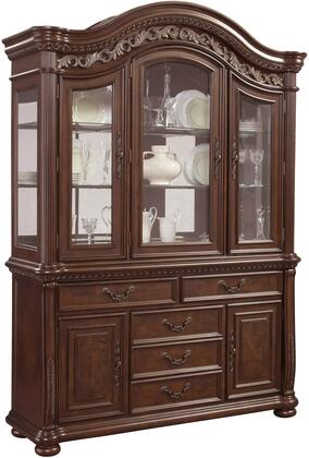 San Marino Collection 3530-1412 60 inch  China Cabinet with 5 Doors  5 Drawers  2 Glass Shelves  Scrolled Floral Carvings and Antique Brass Hardware in Dark Wood