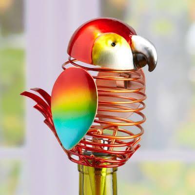 DFA1876 Wine Bottle Stopper - Parrot in Red  Yellow Green