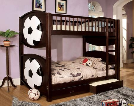 Olympic II Collection CM-BK065-SCCR-T-BED Twin Size Bunk Bed with Soccer-Theme  Storage Drawers  Solid Wood and Wood Veneer Construction in Dark Walnut