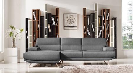 Divani Casa Trinidad Collection Vgmb-1509b-gry 107 2-piece Fabric Sectional Sofa With Left Arm Facing Chaise And Right Arm Facing Sofa In