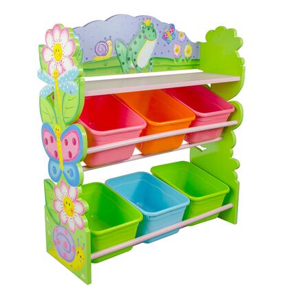 TD12245A Magic Garden Hand Crafted Kids Wooden Toy Organizer with Storage