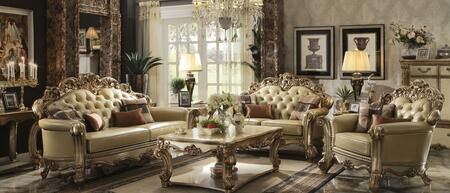 Vendome Collection 53000SLC 3 PC Living Room Set with Sofa + Loveseat + Chair in Gold Patina