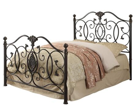 300392KE Gianna Eastern King Size Iron Panel Bed with Scroll Design and Metal Construction in Black Brush