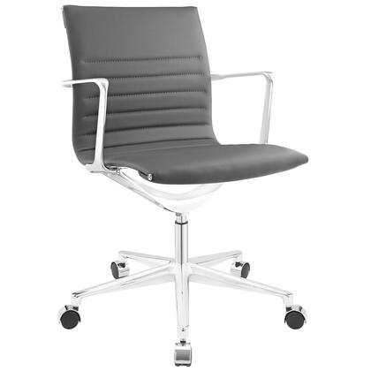 Vi Collection Office EEI-1526-GRY Chair with 360-Degree Swivel  Mid-High Backrest  Five Dual-Wheel Steel Casters  Polished Chrome Aluminum Base and Vinyl