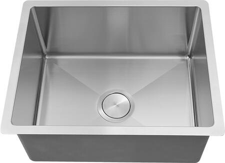 LI-2900 Trevi 22 1/2 inch  Single Bowl Undermount Kitchen Sink with Soundproofing System and Mounting Hardware in Stainless