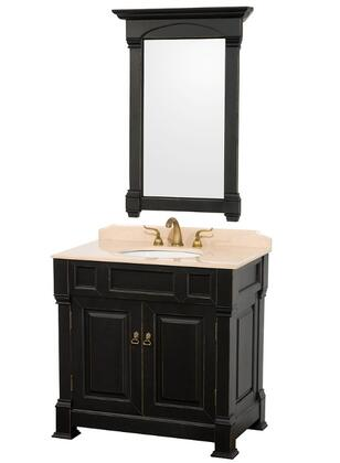 WCVTS36BLIV 36 in. Single Bathroom Vanity in  Antique Antique Black with Ivory Marble Top with White Undermount Sink and 28 in.