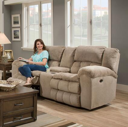 50580PBR-63 MADELINE SANDSTONE 81 inch  Double Motion Loveseat with Dual Recliners  Pillow Top Seat Cushions  Plush Padded Arms  Console  Cup Holders  Hardwood