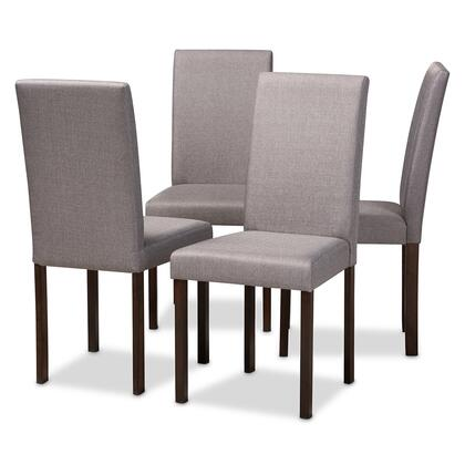 Baxton Studio Andrew Dining Chair-Grey Fabric with Foam Cushioning  Wooden Legs and Fabric