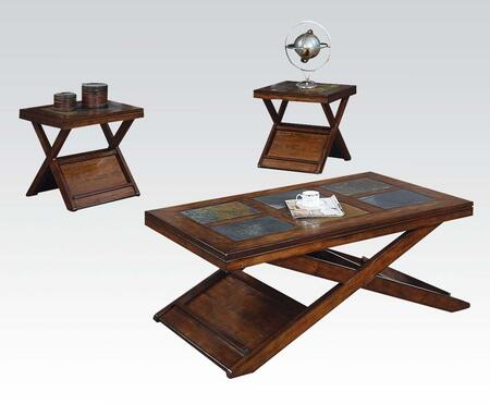 Benicia Collection 80166 3 PC Living Room Table Set with Coffee Table  2 End Tables  Slate Insert  Medium-Density Fiberboard