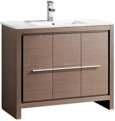 Allier FCB8140GO-I 40 inch  Single Sink Vanity with 2 Soft Closing Doors  2 Soft Closing Drawers and Integrated Sink in Grey