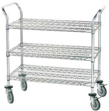 WUC-1836R-X Wire Utility Cart with Shelves and Rubber Casters in Chrome