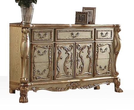 Dresden 23165 66 inch  Dresser with 5 Drawers  2 Doors  Interior Shelf  Antique Brass Hardware  Ball and Claw Feet in Gold Patina