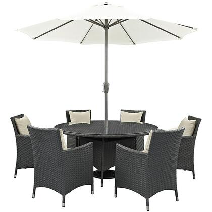 Sojourn Collection EEI-2270-CHC-BEI-SET 8-Piece Outdoor Patio Sunbrella Dining Set with 59