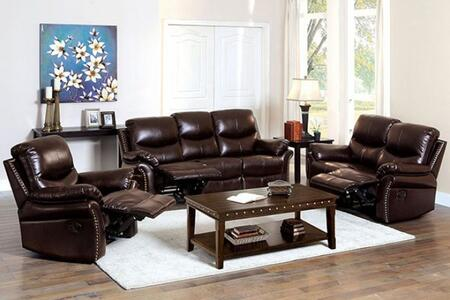 Dudhope Collection CM6718-SLR 3-Piece Living Room Set with Motion Sofa  Motion Loveseat and Recliner in Rustic Dark