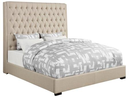 Camille Collection 300722Q Queen Size Bed with Extra Tall Button Tufted Headboard  Low Profile  Cappuccino Solid Wood Legs and Fabric Upholstery in Cream