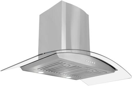 668A900-CFM 36 inch  Glass Canopy Chimney Wall Range Hood with 380 CFM  3 Speed Control  LED Lighting and Dishwasher Safe Baffle Filters  in Stainless