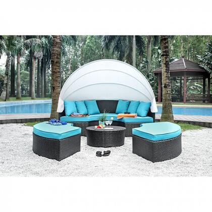 Aria CM-OS2117-SET Patio Canopy Daybed with Turquoise Fabric Cushions  Includes 3 Ottomans and 6 Pillows  UV and Water Resistant in Light Brown Wicker/White