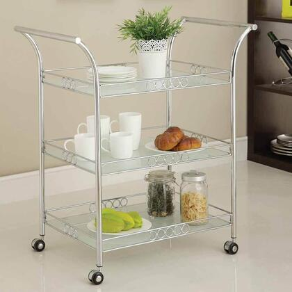 Clancy Collection 98125 35 inch  Serving Cart with 5mm White Tempered Frosted Glass Top  Frosted Glass Shelves  Casters and Metal Tube in Chrome