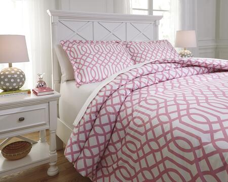 Loomis Q758011t 2 Pc Twin Size Comforter Set Includes 1 Comforter And 1 Standard Sham With Geometric Design And 200 Thread Count Cotton Material In Pink