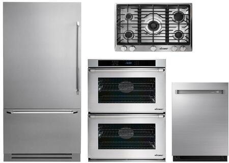 4-Piece Stainless Steel Kitchen Package with DYF36BFTSL 36 inch  Bottom Freezer Refrigerator  RNCT305GSLP 30 inch  Liquid Propane Cooktop  RNWO230PS 30 inch  Double Wall Oven