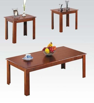 Meridia Collection 02163 3 PC Table Set with 2 End Tables  Coffee Table  Straight Lines and Birch Veneer Materials in  Cherry