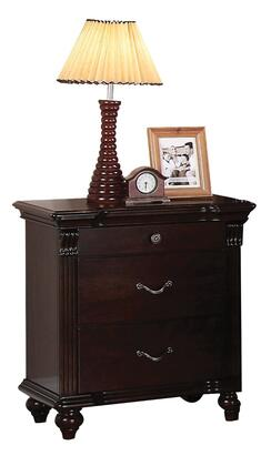 Cleveland Collection 21553 26 inch  Nightstand with 3 Drawers  Turned Bun Leg  Center Metal Drawer Glides and Solid Pine Wood Construction in Dark Cherry